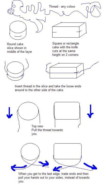 cutting a cake into layers