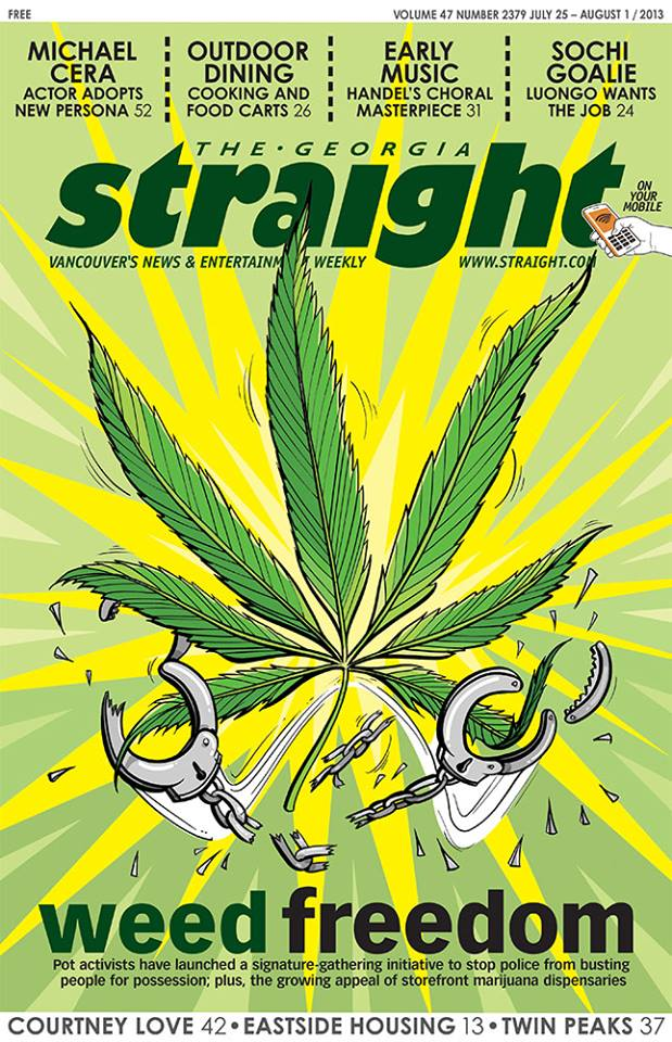 In this week's issue, we look at the recently launched Sensible BC campaign to stop police from busting people for marijuana possession; plus, the growing appeal of storefront marijuana dispensaries. Cover image by Matt Mignanelli http://www.straight.com/news/403411/growing-medical-marijuana-dispensary-industry-under-attack