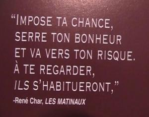 Rene Char fate and happiness french quote