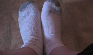 Citizen Science Can you really tell which sock is which when you are not looking? Normally I wear mine inside out because the seam bothers my toes. but maybe without shoes on... it's not much of a test..... oh well try again tomorrow off to dog pile and watch Buffy!