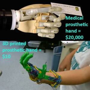 Using plans available to download for free, a man used a 3D printer to make a prosthetic hand for his son for only $10. More info: http://bit.ly/1bWwXRU