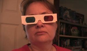 Nina in classic 3 d glasses