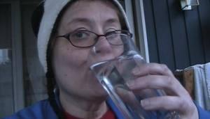 Nina drinking water