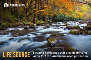 WATER IS LIFE: Roughly 33% of all Americans rely on streams for their drinking water. That's why it's all the more troubling that loopholes in the Clean Water Act have allowed industry to pollute the very sources of our drinking water. http://ow.ly/rI1Qi In the next week, Earthjustice and our environmental allies will be rallying public support to get the White House and EPA to restore clean water protections for our streams and wetlands. Please help us out by taking action>> http://ow.ly/rI1Qi and by sharing our Facebook posts and retweeting us!