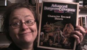 Nina with DnD Character sheets