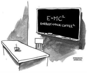 E equals coffee