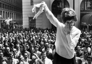 01 Aug 1969, San Francisco, California, USA --- Demonstrators remove their brassieres during an anti-bra protest outside a San Francisco department store. --- Image by © Bettmann/CORBIS