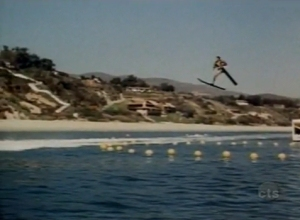 Fonzie jumping over the shark at the beach on Happy Days