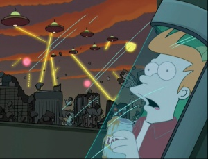 futurama-season-1-1-space-pilot-3000-fry-frozen-ufos-destroy-earth