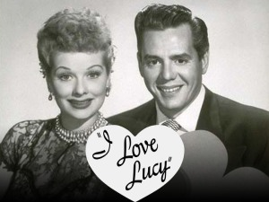 I LOVE LUCY  (L-R) Lucille Ball and Desi Arnaz. I Love Lucy, produced by Desilu Productions, aired from October 15, 1951 to May 6, 1957 on CBS.  Image Source: TV Land © 2008 MTV Networks Entertainment Group, Viacom International Inc. All Rights Reserved.