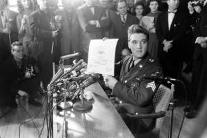 Not published in LIFE. Elvis Presley at Fort Dix, New Jersey, shortly before his discharge from the U.S. Army, March 1960.