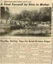 RARE newspaper article Elvis sayiing goodbye Glayds died