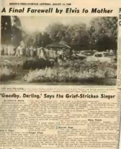 RARE newspaper article Elvis sayiing goodbye Glayds died