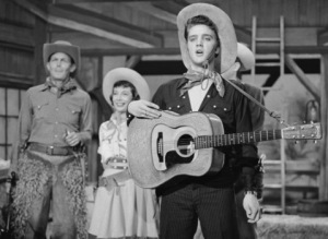 THE STEVE ALLEN SHOW -- Aired July 1, 1956 -- Episode 2 -- Pictured: (l-r) Andy Griffith, Imogene Coca, and Elvis Presley perform a parody of Country & Western television shows -- Photo by: NBCU Photo Bank