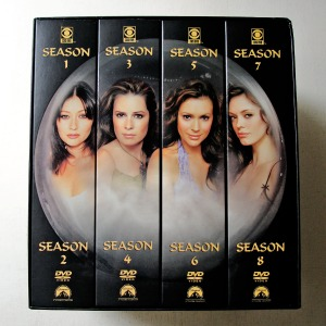 Charmed Complete Series DVD Box Set, starring Shannen Doherty as Prue Halliwell, Holly Marie Combs as Piper Halliwell, Alyssa Milano as Phoebe Halliwell, Rose McGowan as Paige Matthews-Halliwell, Kaley Cuoco as Billie Jenkins, Brian Krause as Leo Wyatt, Dorian Gregory as Darryl Morris, Ted King as Andy Trudeau, Julian McMahon as Cole Turner/Belthazor, Drew Fuller as Chris Halliwell etc. (dvdbash.wordpress.com)