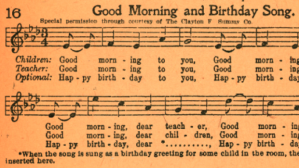 A copy of a 1927 book unearther by filmmakers disputing the origins to the Happy Birthday song has been called a 'smoking gun' in the case. (Court filing from Wolf Haldenstein Adler Freeman & Herz LLP)