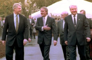 The then US and Russian presidents, Bill Clinton, left, and Boris Yeltsin, right, with Canadian premier Brian Mulroney in 1993. Picture: Getty