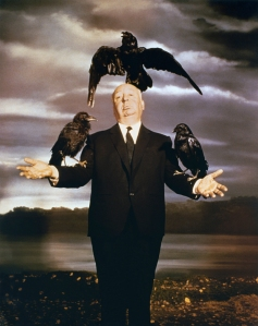 1963 --- British director and producer Alfred Hitchcock promoting his movie The Birds. --- Image by © Sunset Boulevard/Corbis