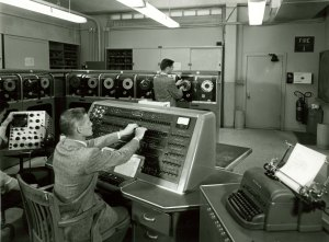 server-room Operating the UNIVAC1 computer, 1950s