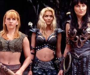 "Renée O'Connor as 'Gabrielle', Hudson Leick as 'Callisto' and Lucy Lawless as 'Xena' in ""Xena: Warrior Princess"" (S2)"