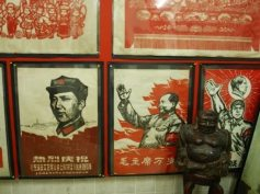 Some of the red and black wood-cut posters