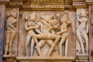 India: Temples of Khajuraho, one of the most popular tourist destinations in India, and famous for their erotic sculptures. Unesco World Heritage.