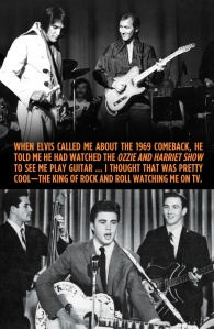 James Burton played guitar for Elvis Presley's TCB band from 1969-1977 (top); James Burton was Ricky Nelson's backup guitarist on the Ozzie and Harriet TV show in the late 1950s. (bottom). Courtesy of James Burton