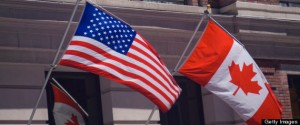 American and Canadian flags for Canada Day
