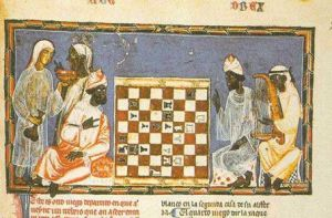 Moorish-Chess-A-depiction-of-Moorish-noblemen-playing-the-board-game-Book-of-Games-1283-AD