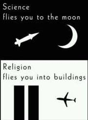 Image result for science to moon, religion to building